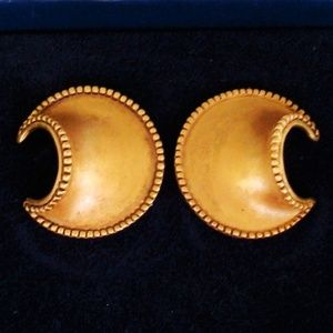African crescent pierced gold earrings NWOT